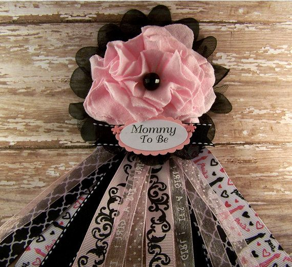 Paris Baby Shower Corsage Mom To Be Corsage Pink Girl Corsage Mommy Badge  Pink Black Baby Shower Corsage