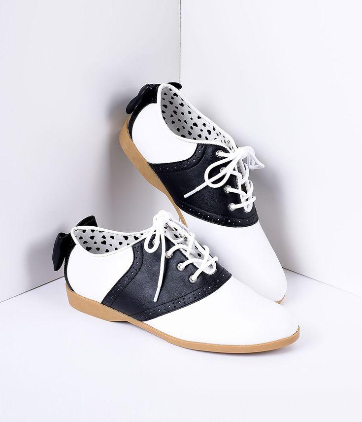 Black & White Classic Lace Up Bow Saddle Shoes
