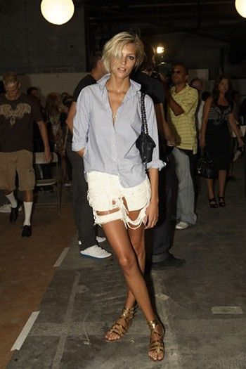 Perfect Summer Look - White Cut-Off Shorts w/A Simple Button Down and Sizzling Sandals