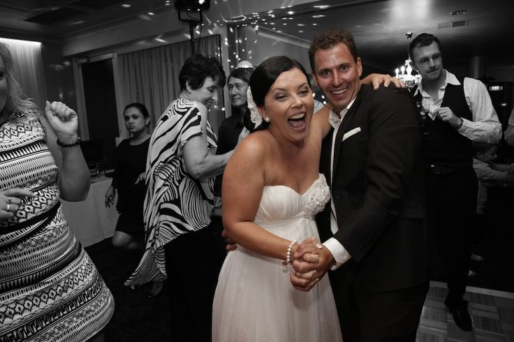 Black and white shot with a full colour bride and groom for their first dance to Pharrells new song 'Happy', yep what a great choice for your first dance as hubby and wifey! Love it!