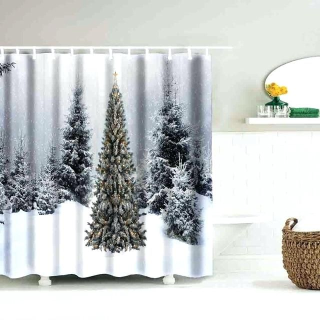 Winter Shower Curtain Waterproof Polyester Bathroom Decor With