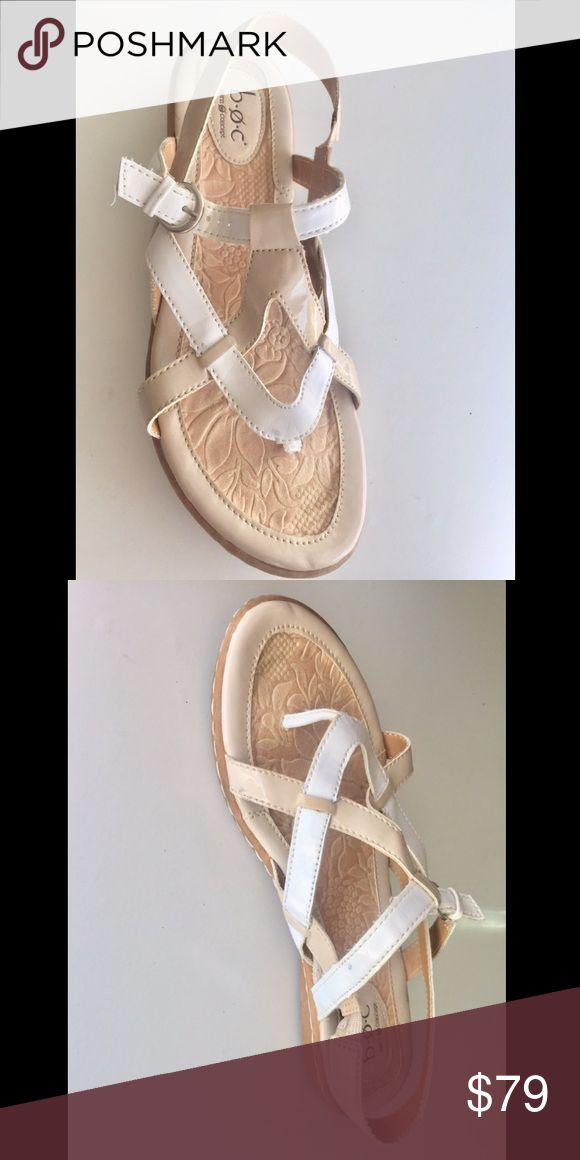 Born Concept comfort walking sandal white & nude Color: white & nude/cream straps, tan sole. Leather & shiny leather. Ultra-comfort for long-distance walking. Use with formal or informal attire.  1/2 inch wedge heel. Slightly used.  Strong & sturdy rubber sole. Born Shoes Sandals