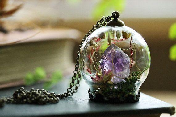 Amethyst kristal ketting kristal terrarium door RubyRobinBoutique