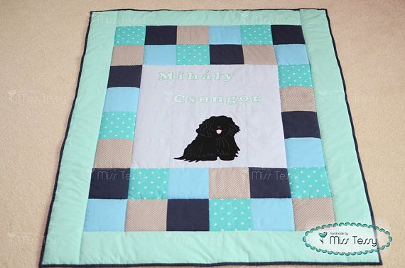 Dog blanket | quilt | baby blanket mint and blue