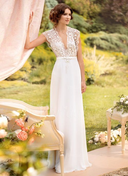 Bröllopsklänningar - $162.99 - A-linjeformat V-ringning Golvlång Chiffong Tyll Bröllopsklänning med Spetsar (0025057309)