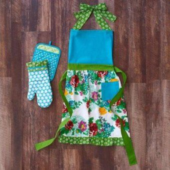 The Pioneer Woman Country Garden Kitchen Set Apron/Oven - Kitchen Things