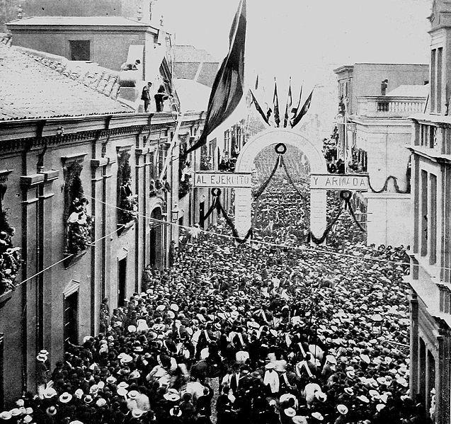 Regreso de los soldados tras el fin de la Guerra del Pacifico. Valparaiso, 1884.