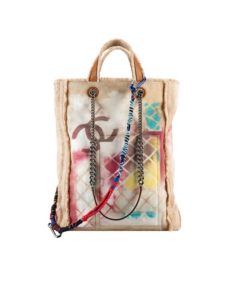 Large graffiti printed canvas tote... - CHANEL