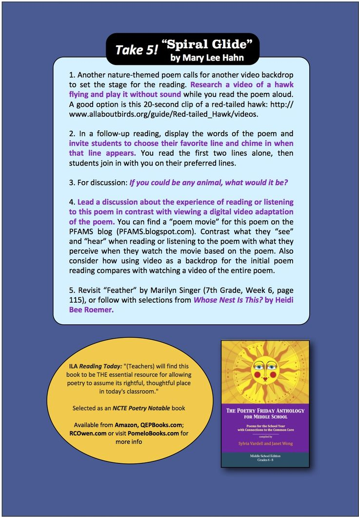 """Here are the """"Take 5"""" activities that accompany """"Spiral Glide"""" by Mary Lee Hahn from THE POETRY FRIDAY ANTHOLOGY® FOR MIDDLE SCHOOL compiled by Sylvia Vardell & Janet Wong (Pomelo Books, 2013)"""