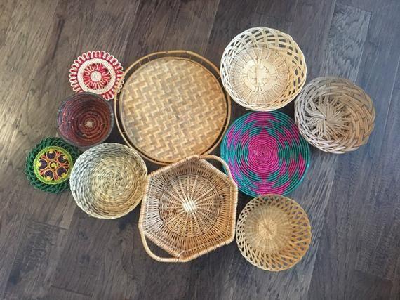 Vintage Wicker Rattan Wall Baskets Set Of 10 Woven Straw Boho Wall Decor Basket Decor In 2020 Baskets On Wall Basket Decoration Vintage Baskets
