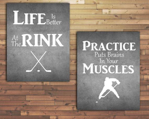 Hockey Quotes wall art-Boys Hockey Room by Raising3Cains on Etsy