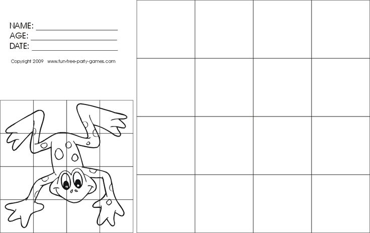 Free Drawing-with-grids Activity: Cartoon Frog
