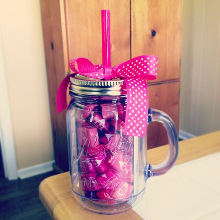 """Teacher birthday gift. Bought the plastic jar w/straw at Target for $9.99, put Starburst candy and included a note saying, """"hope your birthday is BURSTing with excitement!"""". Really hope Emma's teacher likes it :)"""