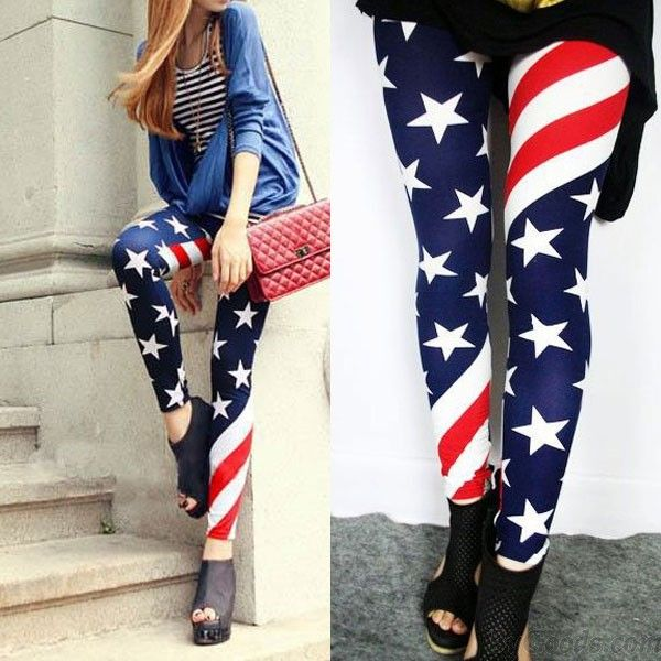 Vintage Sexy Stretch US American Flag Tights Leggings only $9.99 in ByGoods.com