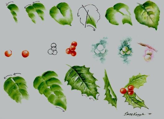 How to paint leaves and holly tutorial by Penny Nangle.