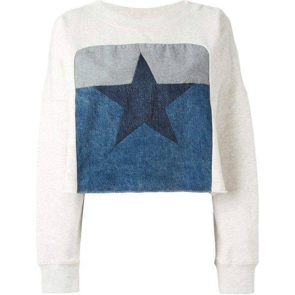 Diesel \'Fane\' Cropped Sweatshirt ($131) ❤ liked on Polyvore featuring tops, hoodies, sweatshirts, cropped tops, diesel tops, blue top, blue crop top and cropped sweatshirt