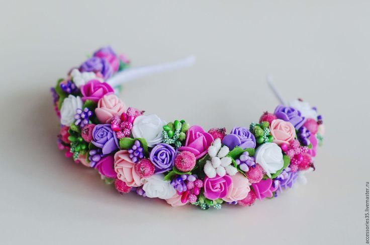Купить Ободок с цветами из фоамирана и ягодами - ободок, ободок для волос, ободок с цветами, ободок с розами