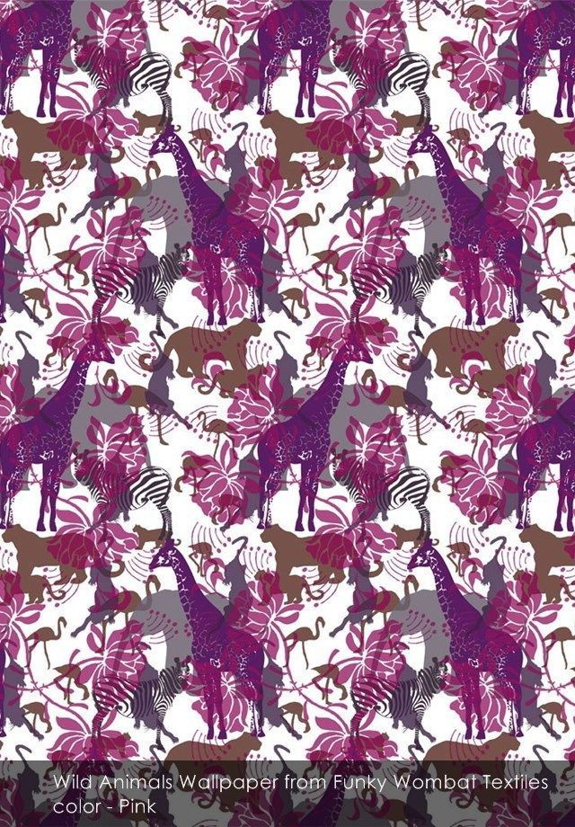 Wild Animals wallpaper from Funky Wombat Textiles in Pink
