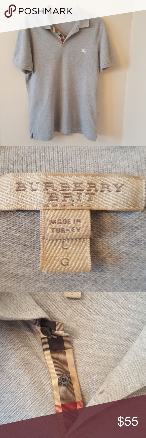 Men's Burberry Polo Shirt Beige Burberry short sleeves (light stain) shown in pic Burberry Shirts Polos