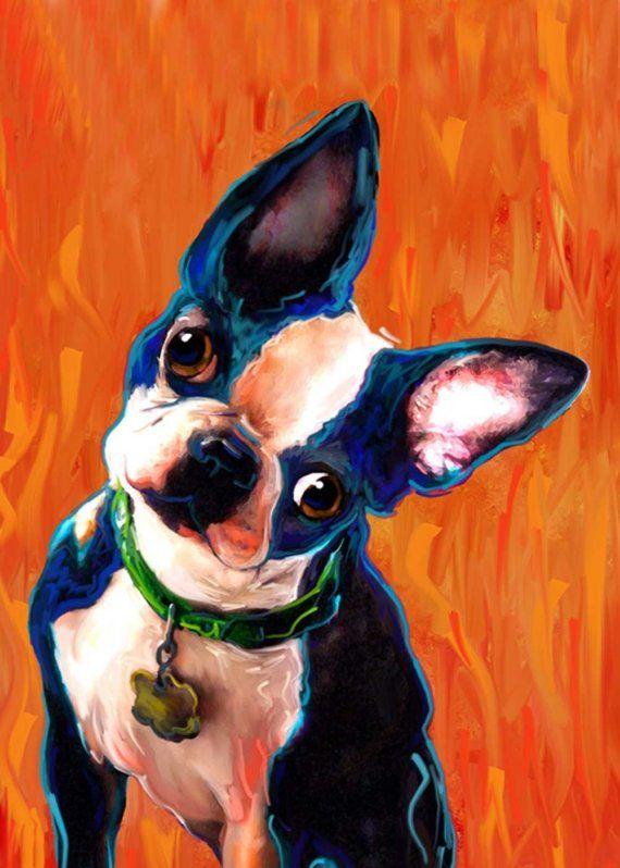 Boston Terrier Dog Art Print Nikki the blue dog by artpaw