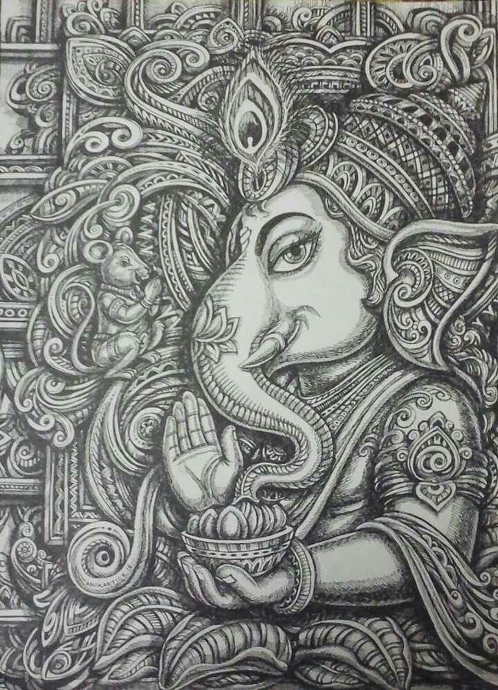 Lord Ganesh | Hinduism art, Ganesha art, Ganesha drawing