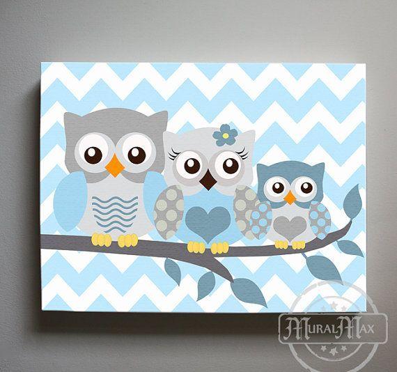 Baby Boy Nursery Art Chevron Owl - Owl Print for Nursery ,Baby Boy Owl Family…