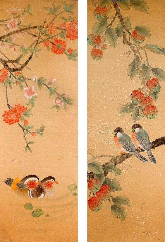 Birds - Chinese Painting [CNAG234493]: New Chinese Painting by He Lin. A pair of mandarin ducks and a pair of birds show the love.