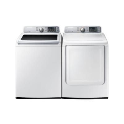 Samsung White 27-inch Top Load Washer and Gas Dryer (White)