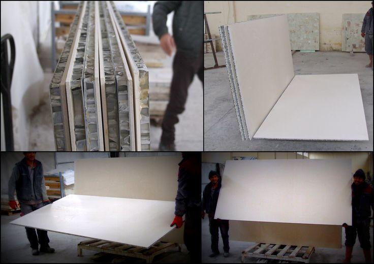 Lightweight Stone Panel with Aluminum Honeycomb panel / Alüminyum Bal peteği panel ile lamine mermer plaka. #Aluminumhoneycomb #marble