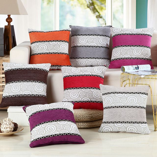 A-LIFE 45*45cm Modern Stripe Cushion Cover Linen Cotton Blend Pillowcase Home Car Decorative Pillow Almofada Cojines SFN-WM