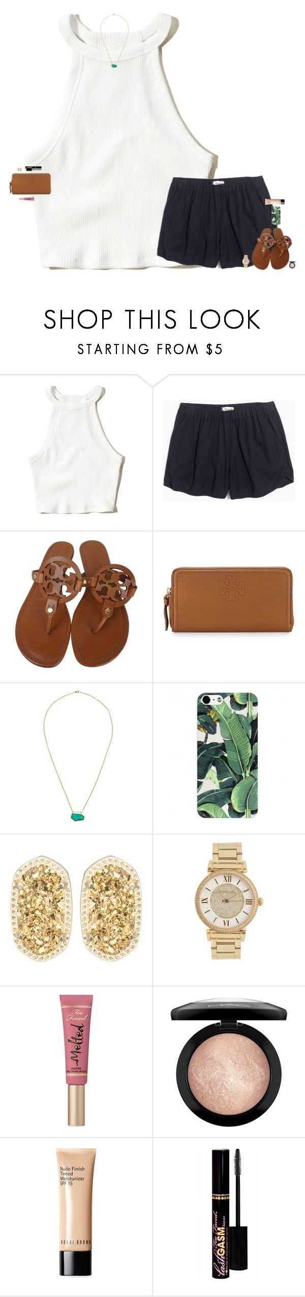"""what's the move"" by maggie-prep ❤ liked on Polyvore featuring Hollister Co., Madewell, Tory Burch, One OAK by Sara, Kendra Scott, Michael Kors, Too Faced Cosmetics, MAC Cosmetics and Bobbi Brown Cosmetics"