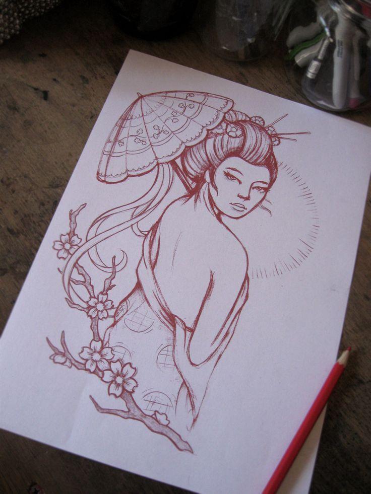 geisha cherry blossom tattoo   geisha parasol and cherry blossoms click here to view more tattoo ...