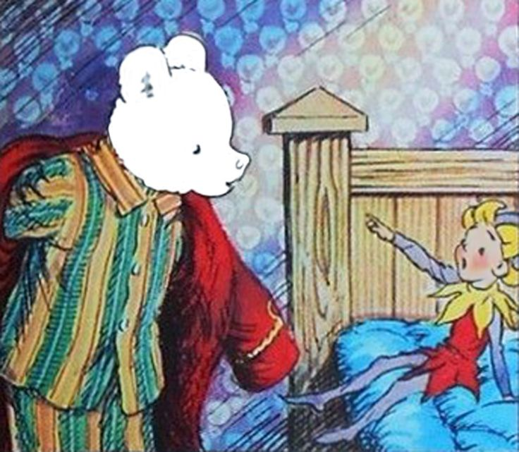 Rupert Bear gets told off by an Imp of Spring