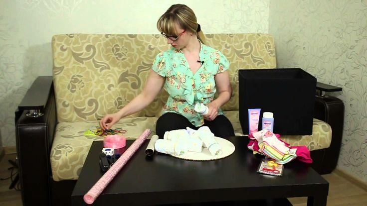 Что подарить на рождение ребенка? Или как сделать торт из подгузников.