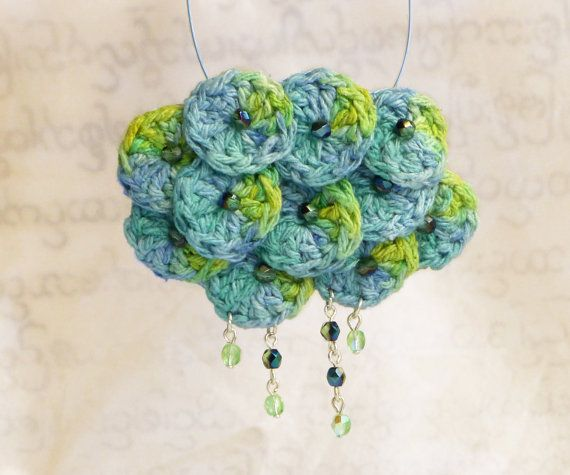 Crochet necklace - sea sunrise, blue-green hand dyed silk, lacy and delicate handwork by burma refugees