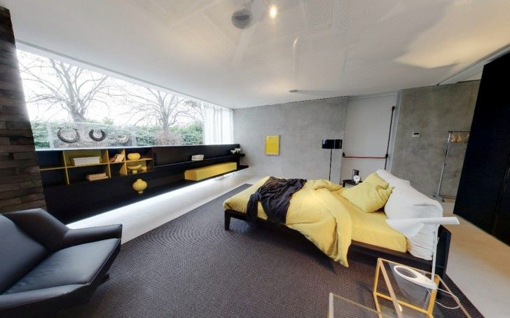 Home Design, Yellow Blanket Dark Brown Carpet Black  Black Leather Armchair Bookshelf Glass Night Stand White Table Lamp Standing Lamp Porcelain Floor Headboard Pillow And Glass Wall ~ Charming Glass Wall Interior Embracing the Minimalist Home Design