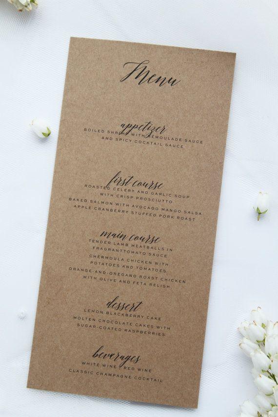 Modern Rustic Menus, Premium Kraft Cardboard
