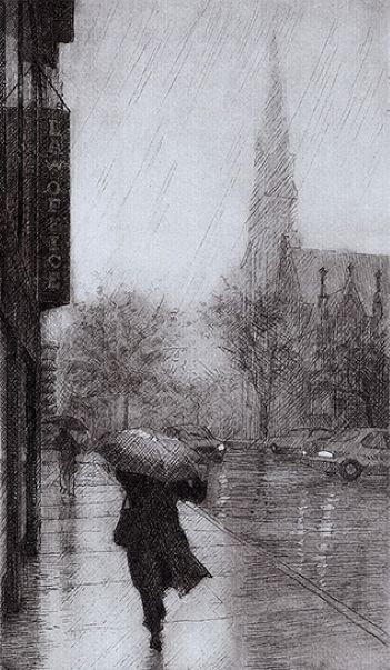 Eric March - September Rain, 7th Avenue  Etching, 2006