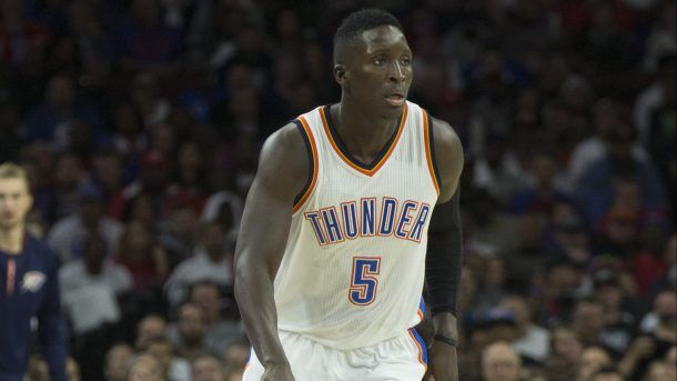 #NBA   PHILADELPHIA, PA - OCTOBER 26: Victor Oladipo #5 of the Oklahoma City Thunder dribbles the ball against the Philadelphia 76ers at Wells Fargo Center on October 26, 2016 in Philadelphia, Pennsylvania. NOTE TO USER: User expressly acknowledges and agrees that, by downloading and or using this photograph, User is consenting to the terms and conditions of the Getty Images License Agreement. The Thunder defeated the 76ers 103-97. (Photo by Mitchell Leff/Getty Images)
