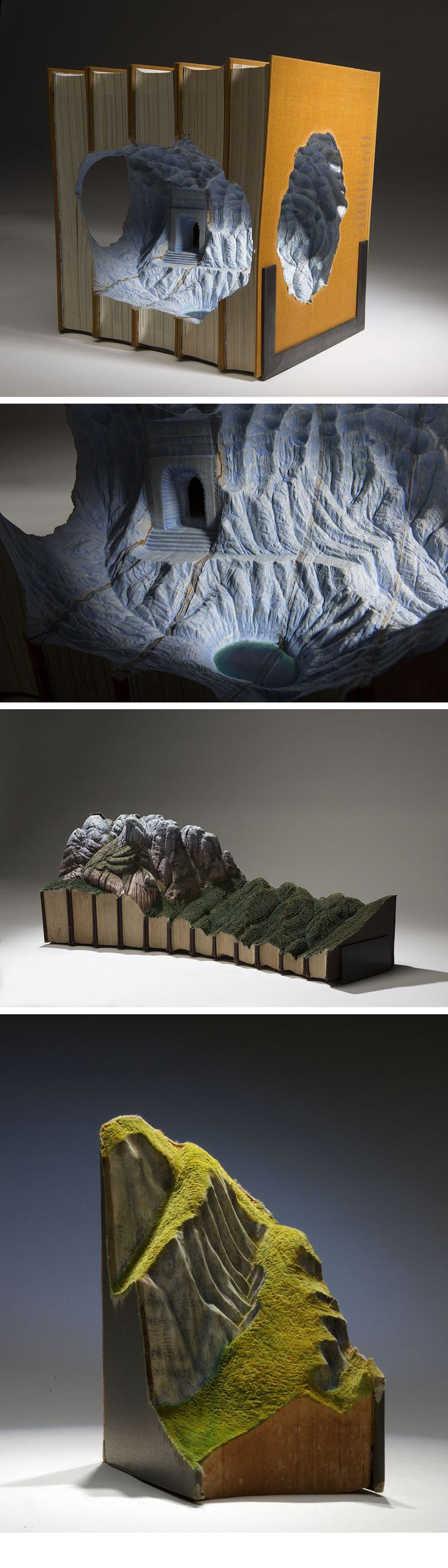 Magnificent New Carved Book Landscapes and Architecture by Guy Laramée