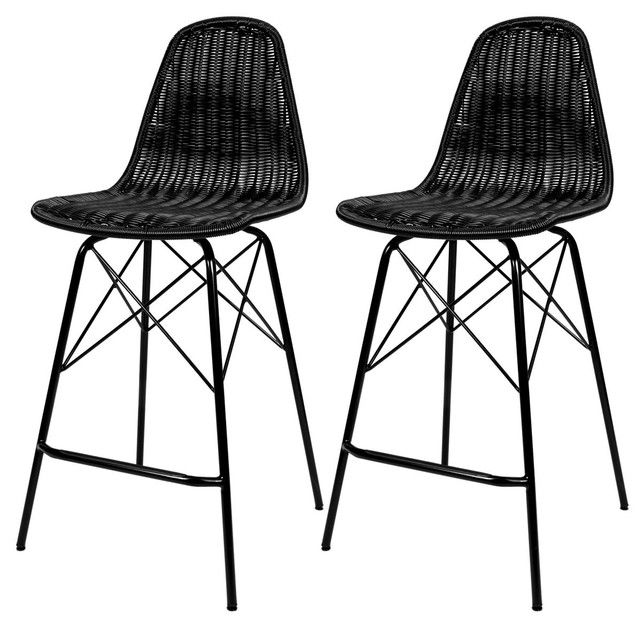 Chaise De Bar Tiptur En Resine Tressee Lot De 2 Noir Rendez Vous Deco La Redoute Chaise Bar Chaise Et Tabouret De Bar Bois
