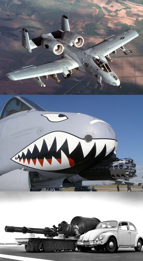 A-10 Thunderbolt. Gun with an aircraft wrapped around it. Developed for destroying large Russian tank formations. it never saw the purpose fulfilled. However it has still proved very effective. Not fast but heavily armoured and pretected. The turbo fan sit high to protect them and give lee of a heat signal. The pilot sits in a titanium bath for protection.