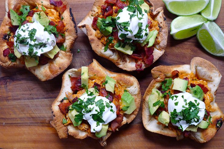 Chicken Ranchero Taco Bowls | To make the bowls just fold Udi's GF tortillas over an inverted muffin pan and bake until golden and crisp! #WhatTheHack: Gluten Fre Chicken, Tacos Bowls, Gf Chicken, Tacos Salad, Rancheros Tacos, Chicken Rancheros, Glutenfree, Salad Bowls, Gluten Free Breads