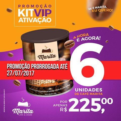 Agora a Rede Fácil Brasil estendeu o prazo da Promoção, e você tem até o dia 27/07/2017 para se ativar e Revender o Café Marita em sua Cidade ! Agora é a hora de comprar um Kit de 6 latas do CAFÉ MARITA por R$ 225,00. Acesse www.cafemarita.com.br/loja e Cadastre-se GRATUITAMENTE ! Garanta Lucros de até 140% na Revenda. Dúvidas envie WhatsApp para (061) 9 8555-9230