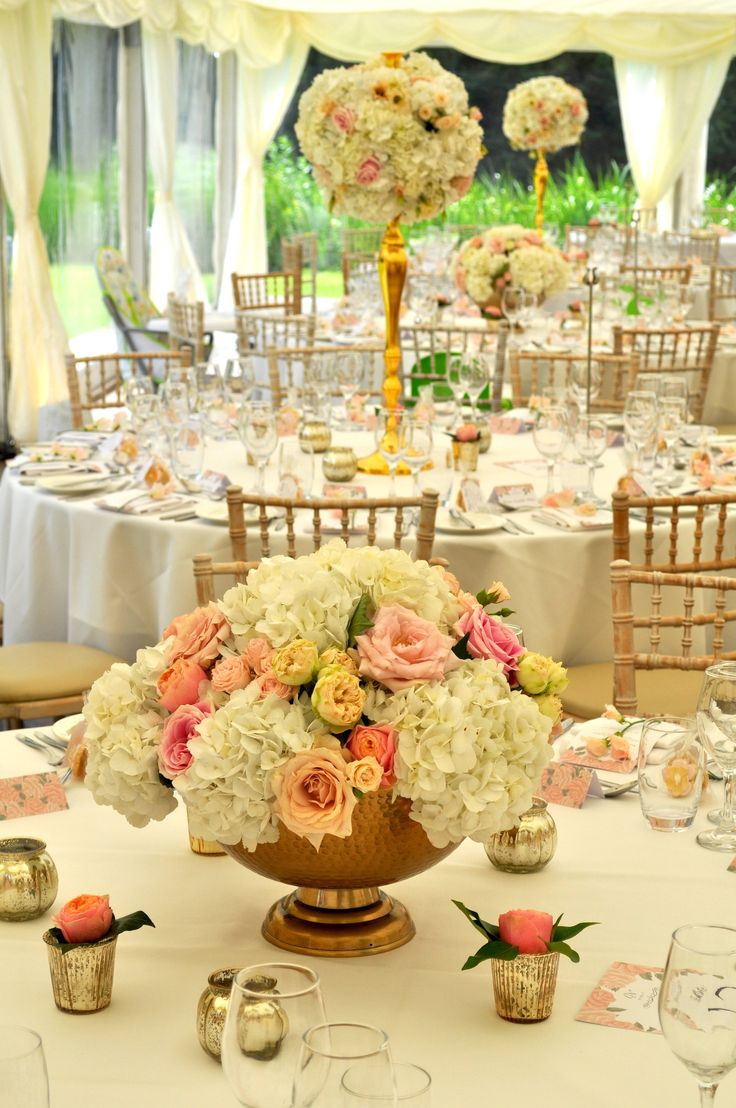 Elegant gold candelabra and rose bowls in the marquee. #joannacarterflowers #ardingtonhouse #oxfordshireweddingflowers