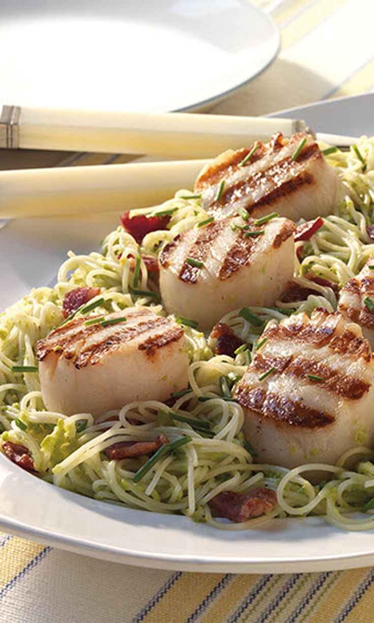 Just add pasta and pesto. This grilled scallops recipe will be ready to serve in about 20 minutes! See this and other grilling recipes on The Home Depot Blog.