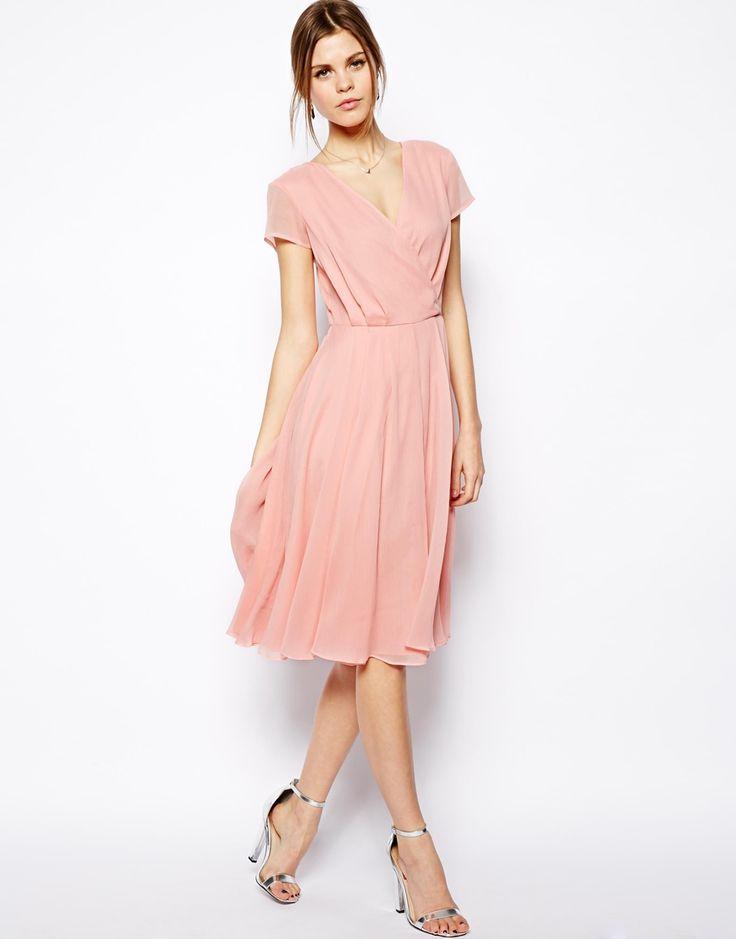 Image 4 of asos wrap dress in midi length for wearing for Midi length wedding dress