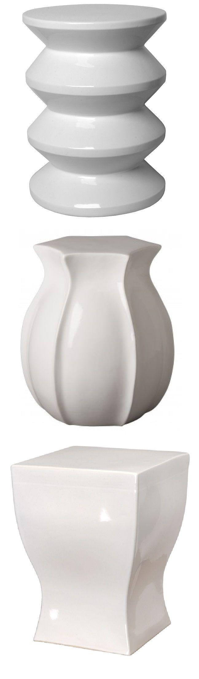 White Garden Stool | White Ceramic Stools | White Porcelain Stool | White Ceramic  Stool |