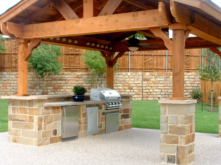 Exterior Kitchen Fabulous Outdoor Kitchen Barbeque Design Ideas With Cherry Wood Kitchen Pergola