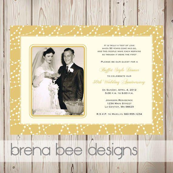 Personalized 50th Wedding Anniversary Invitation   Gold   Custom Printable